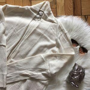 LOFT Cream Rim Trim Open Sweater Cardigan
